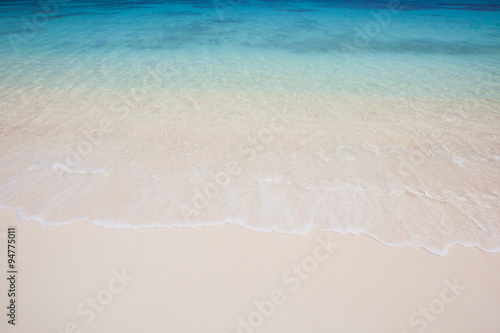 Canvas Prints Countryside Wave of the sea on the sand beach