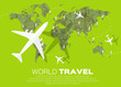 Leinwanddruck Bild - Travel World map background in polygonal style with top view airplane. Vector illustration design.