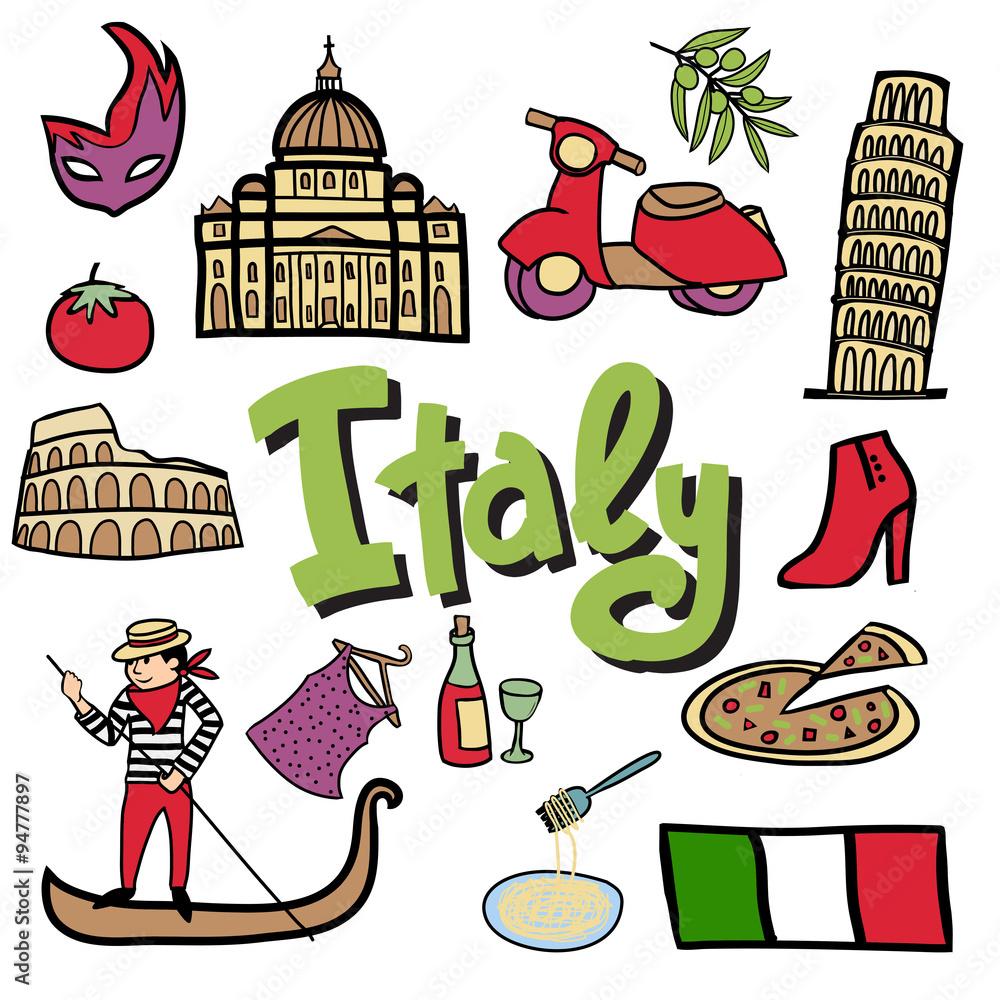Photo  Italian cartoon icons