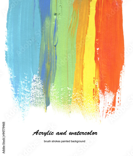 Photo  Abstract acrylic and watercolor brush strokes painted background