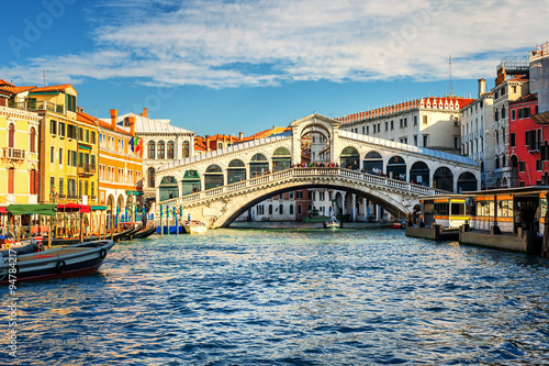 Foto op Aluminium Venetie The Grand Canal and Rialto bridge, Venice, Italy