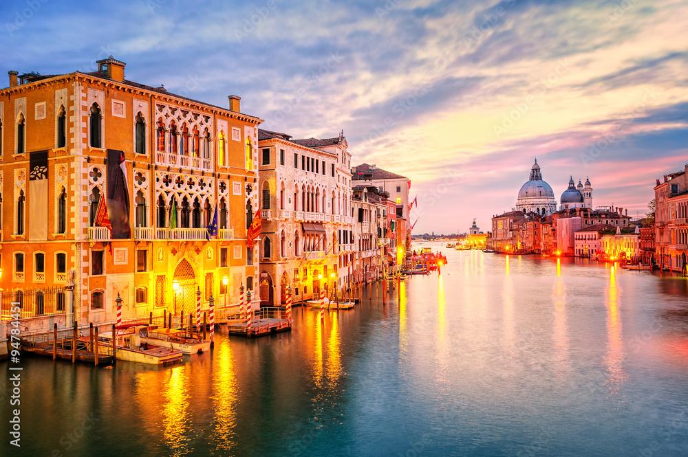 Fototapety, obrazy: The Grand Canal and basilica Santa Maria della Salute on sunrise