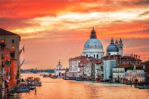 Aluminium Prints Venice Canal Grande and basilica Santa Maria della Salute on sunrise, V