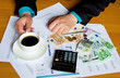 Working businessman hand cup of coffee
