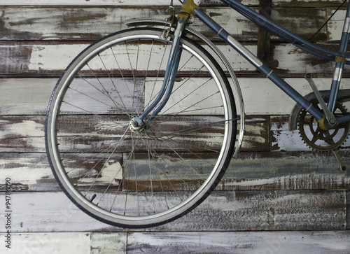Aluminium Prints Bicycle Antique old bicycle on the wall