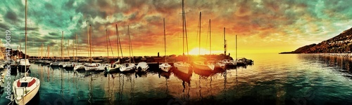 obraz dibond Awesome Sunset at the harbor