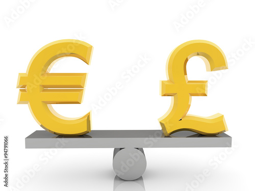 British Pound Sign And Euro On Seesaw