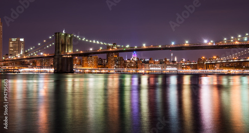 Brooklyn bridge at the night, New York City - 94795683