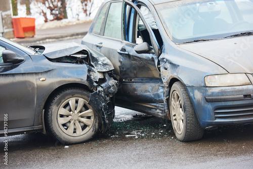 Photo Car crash accident on street
