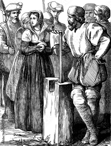 Fotografía  An engraved vintage illustration of the execution of the English queen Lady Jane