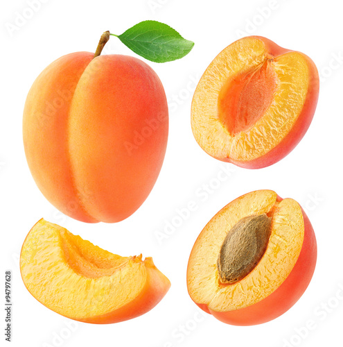 Fotomural Collection of apricots isolated on white