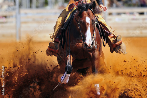 Fotografie, Obraz  A close up view of a rider sliding the horse in the dirt
