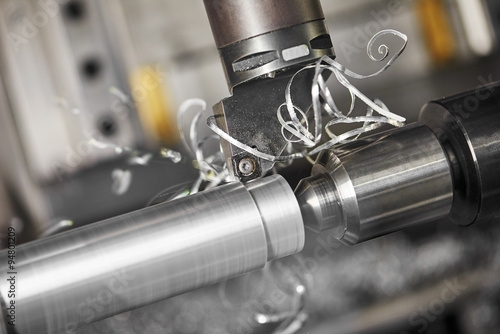Tuinposter Metal cutting tool at metal working