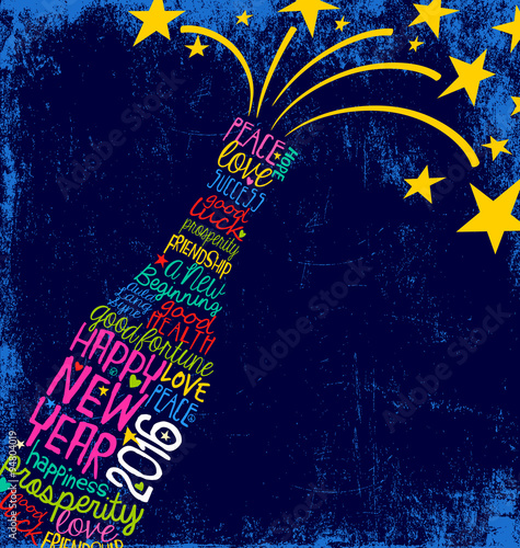 Fotografie, Obraz  Happy New Year 2016 wishes in champagne bottle word cloud with stars