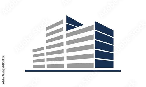 Fotografie, Obraz  Simple Commercial Building in Line Logo Icon