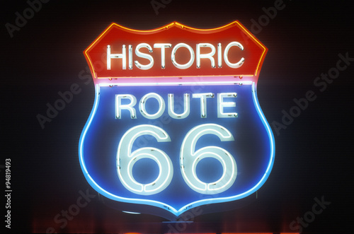 A neon sign that reads ÒHistoric Route 66Ó