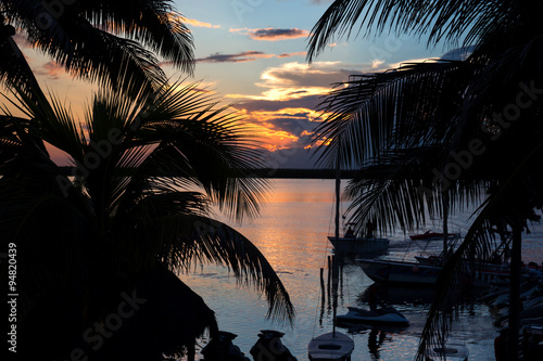 Sunset with palm trees Canvas Print