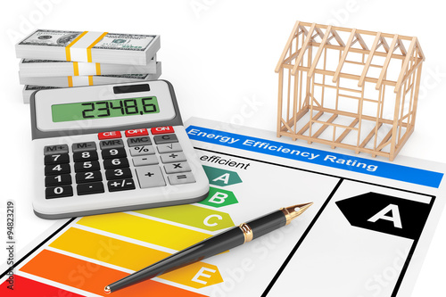 Energy Efficiency Rating with House Frame - Buy this stock photo and ...