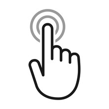 Hand Touch / Tap Gesture Line Art Icon For Apps And Websites