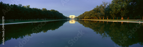 The Lincoln Memorial at sunrise with mirror image from reflecting pool in Washington D Wallpaper Mural