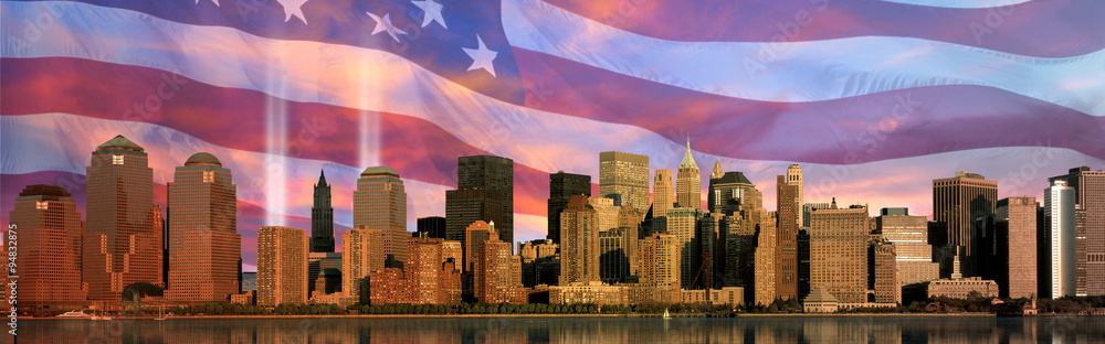 Fototapety, obrazy: Digital composite: Manhattan skyline, World Trade Center Light Memorial,  American flag