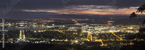 plakat Panoramic view of Canberra at sunset