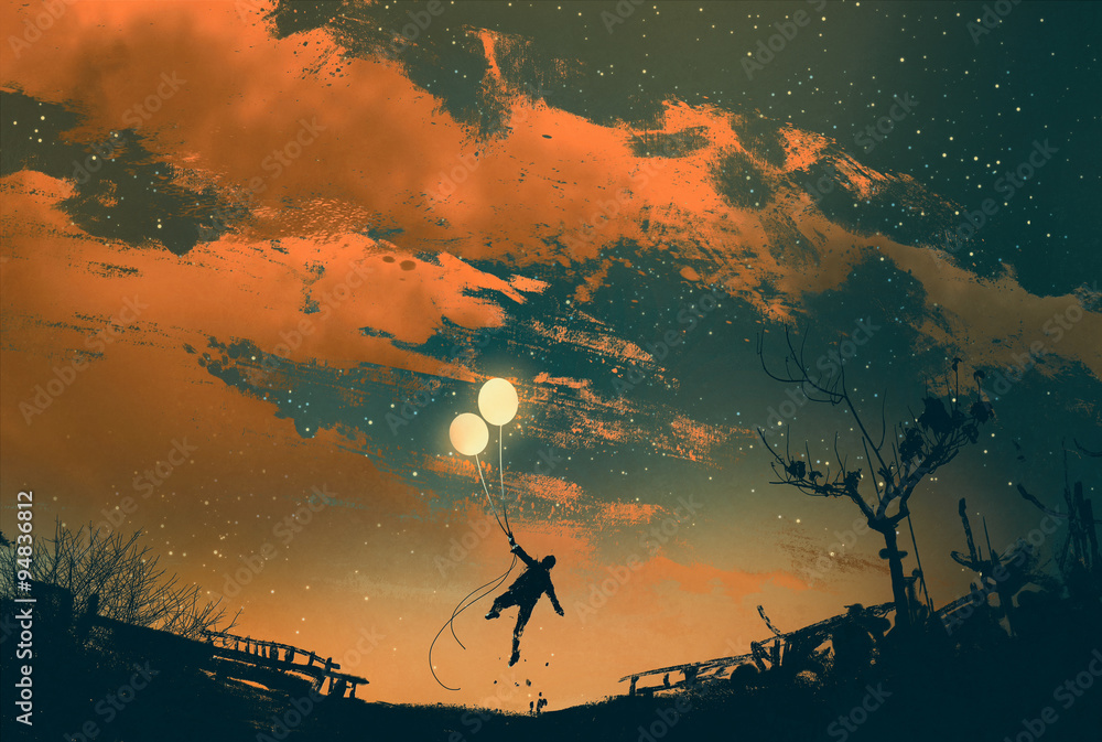 Fototapety, obrazy: man flying with balloon lights at sunset,illustration painting
