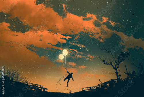 man flying with balloon lights at sunset,illustration painting