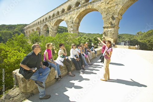 Photo  Tourists at the Pont du Gard, Nimes, France