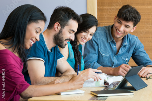Happy student studying together Poster