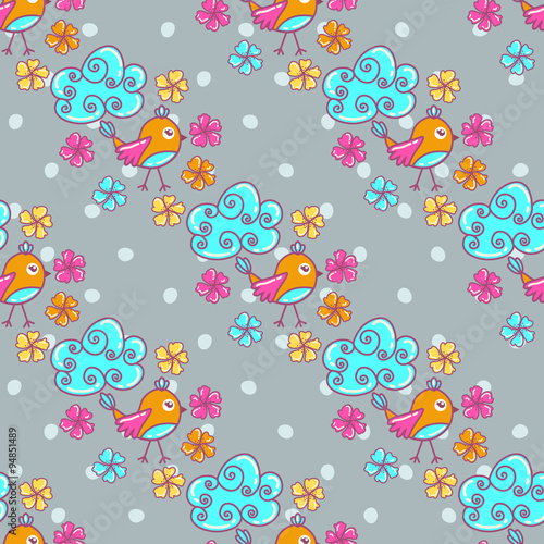 Poster Hibou Seamless pattern with clouds and birds on a gray background