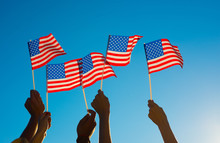 Americans Proudly Raised The Flag Of America.