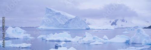 Foto auf Gartenposter Antarktika Panoramic view of glaciers and icebergs in Paradise Harbor, Antarctica