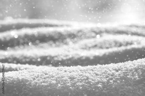 Fototapeta Christmas background from brilliant snow in gray tones obraz na płótnie