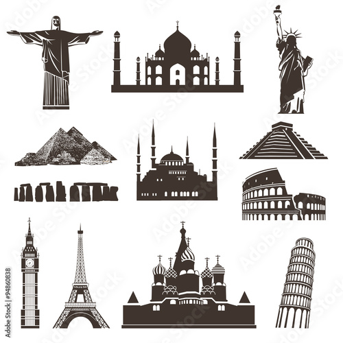 Plagát  Travel icon set, vector silhouettes