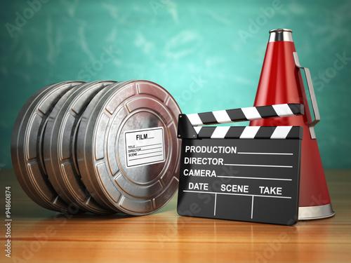Photo  Video, movie, cinema vintage production concept. Reels, clapperb