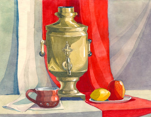 Obraz decorative watercolor still life in the classical Russian style