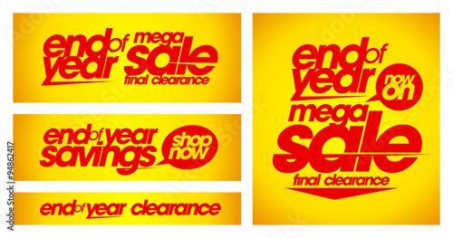 Fotografía  End of year sale yellow banners.