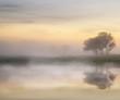 Stunning vibrant Autumn foggy sunrise English countryside landsc