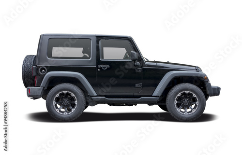 Fotografía Black Jeep side view isolated on white