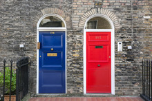 English Blue And Red Front Doors