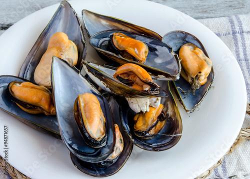 Mussels in the shell Billede på lærred