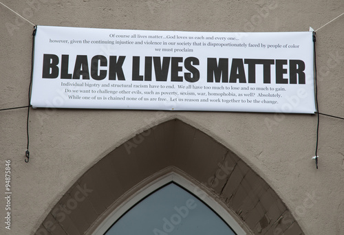 Black Lives Matter banner at First Baptist Church in Jamaica Plain, Massachusetts Tapéta, Fotótapéta