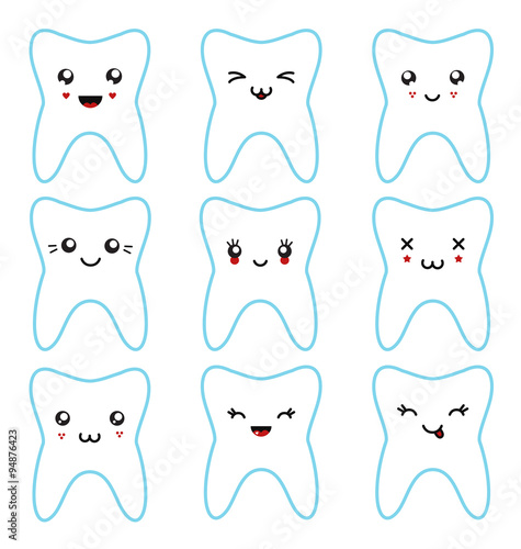 Photo  Kawaii teeth set isolated characters