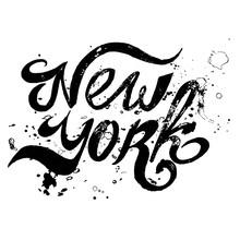 Conceptual Handwritten Phrase New York City On White Background. Illustration