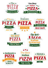 Obraz na Szkle Do pizzerii Tasty pizza headers and signboards set