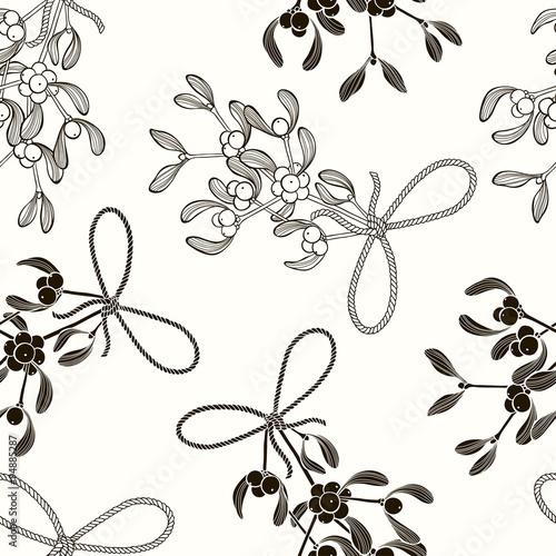 Stoffe zum Nähen Nahtlose Muster mit Mistel. Schwarz / Weiß Vektor Hintergrund.