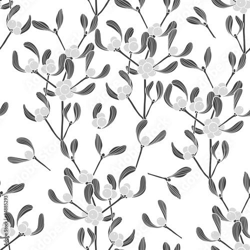 Cotton fabric Seamless  pattern with mistletoe. Monochrome vector background.