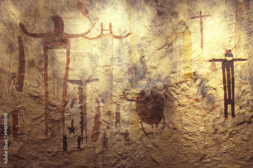 Pictograph rock art at Seminole State Historical Park, TX Wallpaper Mural