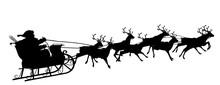 Schwarze Vektor Silhouette Vom Fliegenden Weihnachtsmann Mit Rentierschlitten - Acht Rentiere Im Gespann - Schwarz - Santa Claus - XMas - Schwarzer Schatten Und Weißer Hintergrund